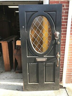Antique Vintage Leaded Stain Glass Front Door Knocker Peep Hole Architectual
