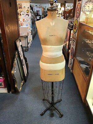 Antique Vintage Victorian Dress Form Mannequin Wolf Ny Model 1950 Lifesize