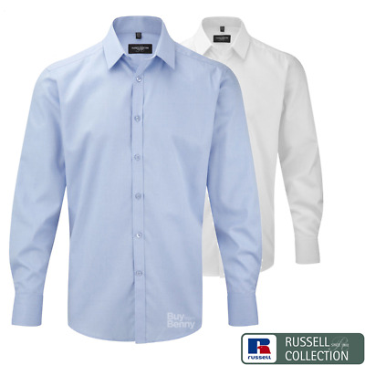 Russell Collection Formal Shirt Long Sleeve Cuffs Collar Tailored Men's Sizes