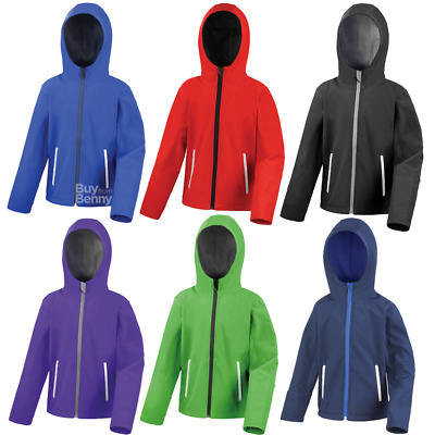 Result Softshell Jacket Hooded Waterproof Reflective School Sport Boys Girls New