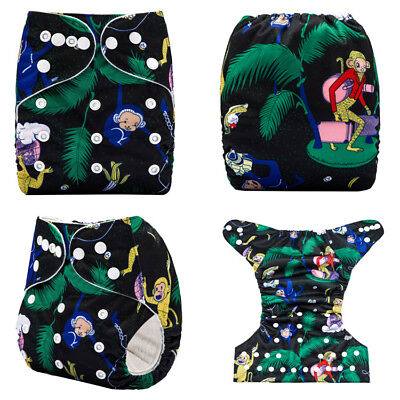 Modern Cloth Nappies Reusable Adjustable Diapers Colourful Monkeys Shell