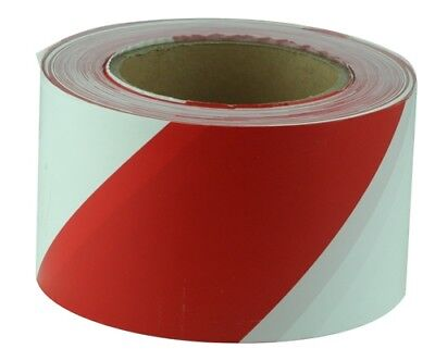 Safety Tape Red White Diagonal Stripes 75mm x 100M Construction Work Sites