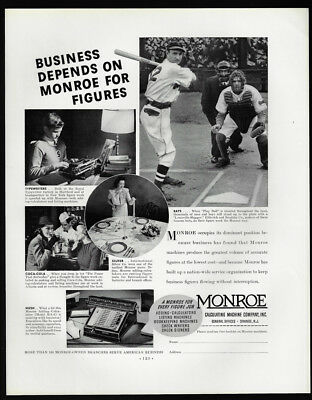 1938 Vintage Print Ad 30's MONROE calculating machine accounting baseball sport