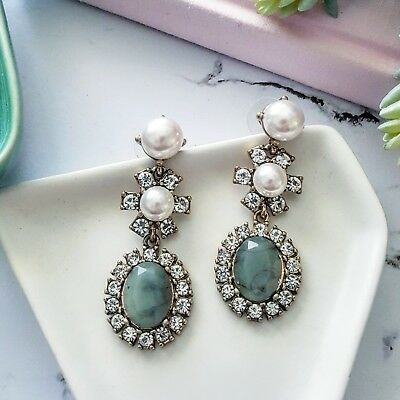 Vintage gold white crystal, pearl & jade green stone dangling flower earrings