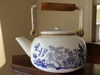 Blue & White Willow style Enamel Teapot/Kettle - Wood Handle Shabby/Chic/Country