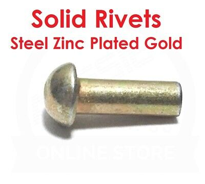 Solid Rivets Truss Head  Steel Zinc Gold - 3.15mm Diameter - 9.4mm Stem Length