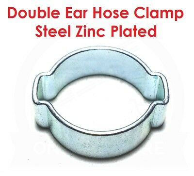Double Ear Hose Clamps - Steel Zinc Plated - O Clip Clamp Air Water Fuel Petrol