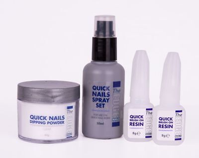 THE EDGE QUICK NAILS ACRYLIC DIPPING TRIAL KIT french dip brush on resin spray