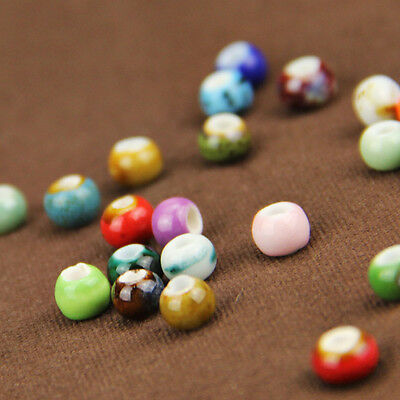 50/100/200X Multi-Color Ceramic Round Loose Spacer Beads DIY Craft Jewelry Gift