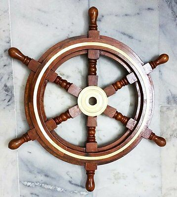 "18"" Collectable Wooden Ship Wheel Pirate Captain Boat Steering Nautical Maritime"