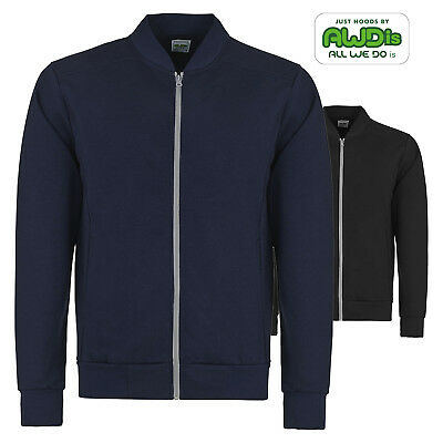AWDis Mens Stylish Lightweight Full Zip Undergrad Jacket Warm Knitted Collar New