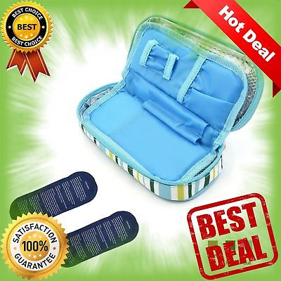 Insulin Cooler Travel Case with 2 Ice Pack and Insulation Liner Working Time NEW