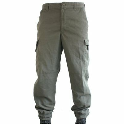 Used Olive Austrian Army Combat Trousers, Ripstop Poly Cotton, Lightweight 34XS