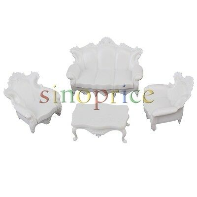 White Scale 1:25 European Style Sofa Settee Couch Model for Dollhouse Furniture
