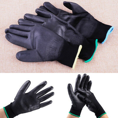 12 Pairs PU Nylon Black Safe Work Coating Gloves Builders Palm Protect S M L QW