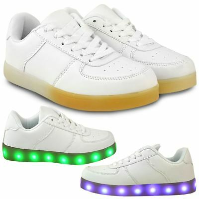 Kids Girls Boys LED Light Up White Trainers USB Charge Sneakers Pumps Shoes Size
