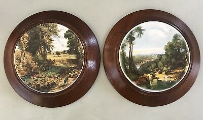 Vintage Pair of Australian landscape 15cm Round Tile Pictures In Wooden Frame