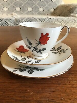 """Vintage Queen Anne """"Carmen""""  Trio Red Rose High Tea Cup Saucer and Plate"""