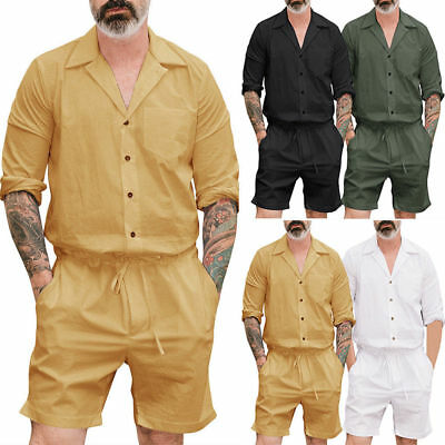 5111b962ddd7 Men s Short One Piece Romper Sleeve Street Casual Cargo Pants Jumpsuit  Overalls