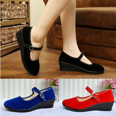 Women's Wedge Shoes Mid Heel Sandals Mary Formal Office Dance Work Ladies Strap