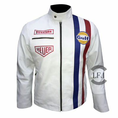 Steve McQueen LeMan Grandprix Gulf Red & Blue Strap White & Black Leather Jacket