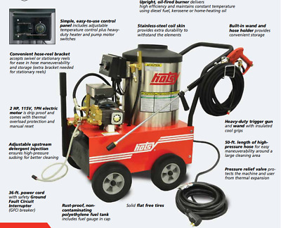NEW Hotsy 555SS 115 Volt/Diesel 2.2GPM@1,300PSI Professional Hot Water Pressure