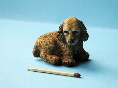 alte kleine Cocker Spaniel Figur Painted by hand Made in Italy Hund Setzkasten