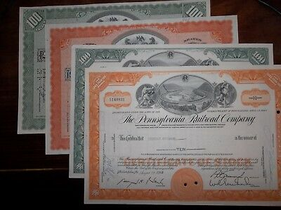 four stock certificate set The Pennsylvania Railroad Company - circulated