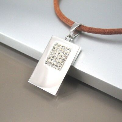 Silver Stainless Steel Square Crystal Pendant 3mm Brown Leather Choker Necklace