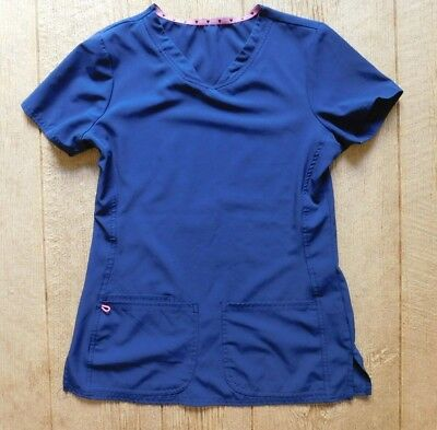 Heart Soul Women's Scrub Top / Size Extra Small / Polyester Navy Blue