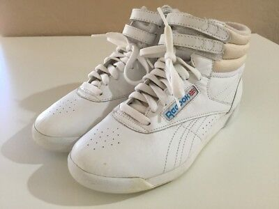41e1114d742 Vintage 80 s REEBOK Classic High Tops Sneakers Tennis Shoes White Sz 6.5 6  1 2