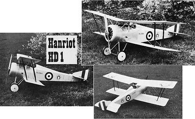 """Model Airplane Plans (RC): Hanriot HD1 1/6 Standoff-Scale 58"""" Biplane for .45-60"""