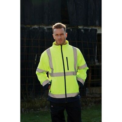 Dickies Hi-Vis Visiblity Two-Tone Soft Shell Jacket Mens Work Safety Winter Coat