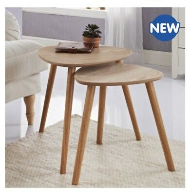 Elegant Set Of 2 Tables Wooden Home Office Living Sitting Room Nest Of 2 Tables