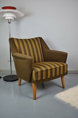 Mid Century Retro Danish Kurt Ostervig Model 54 Brown Wool Lounge Arm Chair 50s