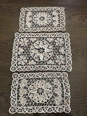 Greek Doilies, Hand Made in Cyprus, Set of 3, Vintage 1970's