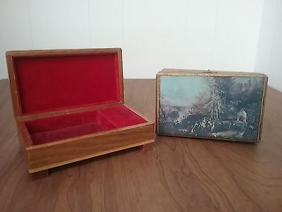 Vintage Wooden Music Jewelry red felt lined Chest Box Works Play Music (2) Parts