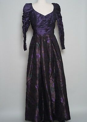 1980s Vintage Couture Made Beverly Hills Taffeta Evening Gown
