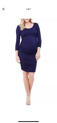 65fe93839e2 NEW INGRID ISABEL Ruched Stretch Shirred Maternity Dress S Navy Blue ...
