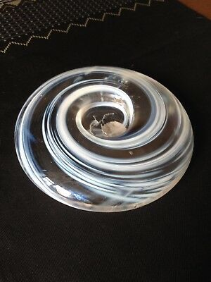 Scottish Borders Iridescent Art Glass Paperweight Candleholder With Label