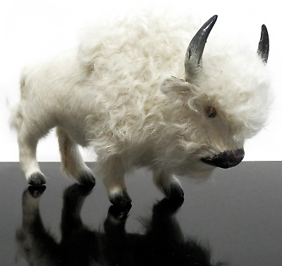 "Vintage White Buffalo Figurine Realistic Sculpture with Real Angora Fur 8"" Long"