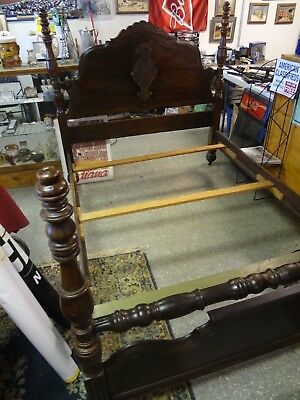 Antique German / Victorian Style Walnut Double Bed. On Casters w/Rails 1800's A1
