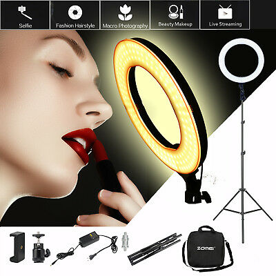 """SMD LED 18"""" Ring Light Dimmable 5500K Continuous Lighting Photo Video Stand Kit"""