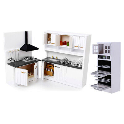 1/12 Dolls House Miniature Furniture Wooden Kitchen Stove Cupboard Microwave