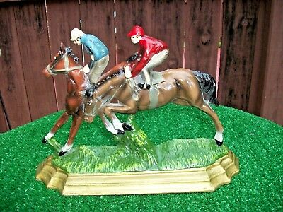 Horse Racing Over Hurdles On Grass Wall Art/sculpture Mantle Plaque