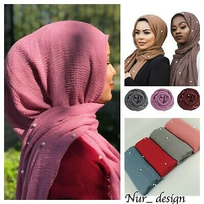 Cotton Blend Viscose Maxi with Pearl Crinkle Hijab Scarf Soft  Muslim 180x100cm