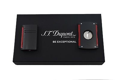 NEW ST Dupont Maxijet Black & Red Perforated Lighter & Cigar Cutter Gift Set