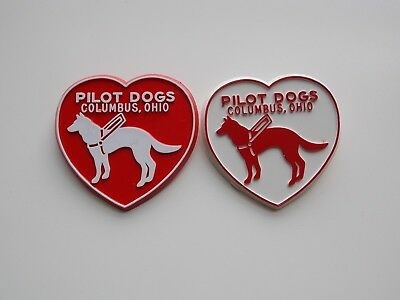 Lot of 2 Vintage Columbus OH Pilot Dogs German Shepherd Heart Shaped Helper Pins
