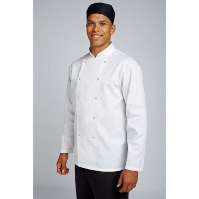 Unisex Long Sleeve Chefs Jacket Coat Dickies Cloth Cover Buttons Executive White