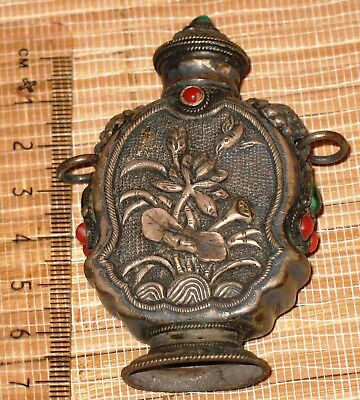 Antique Chinese Tibetan Silver Snuff Bottle turquoise and coral stones, Foo dogs